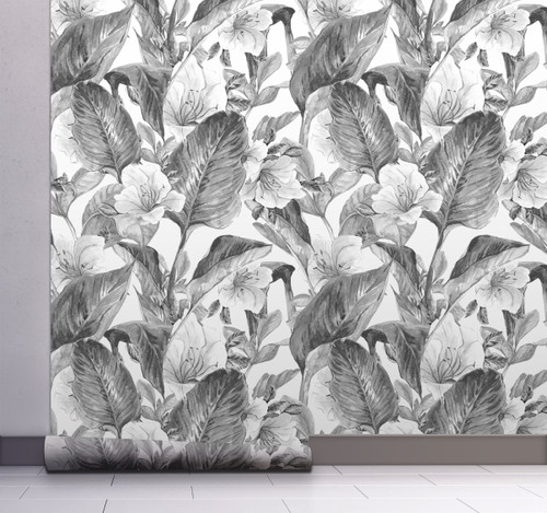 GW2192 Grace & Gardenia Gray Tones Hand Painted Tropical Peel and Stick Wallpaper Roll 20.5 inch Wide x 18 ft. Long, Gray