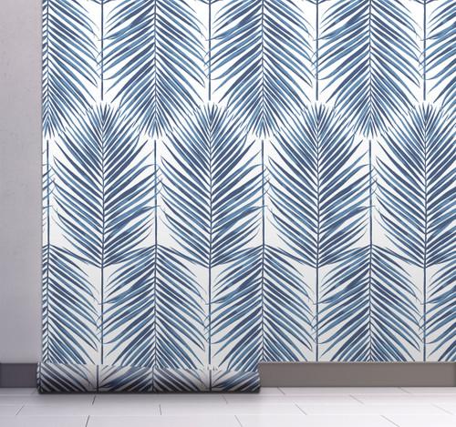 GW2016 Grace & Gardenia Tropical Blue Palm Leaf Peel and Stick Wallpaper Roll 20.5 inch Wide x 18 ft. Long, Blue