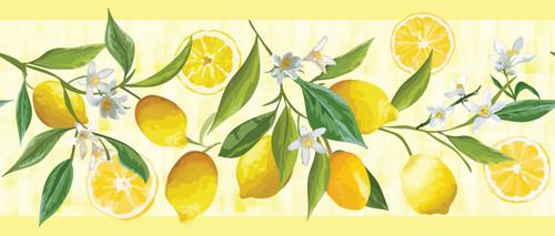 GB50121 Grace & Gardenia Lemon Flower Peel and Stick Wallpaper Border 10in Height x 18ft Yellow/Green/White