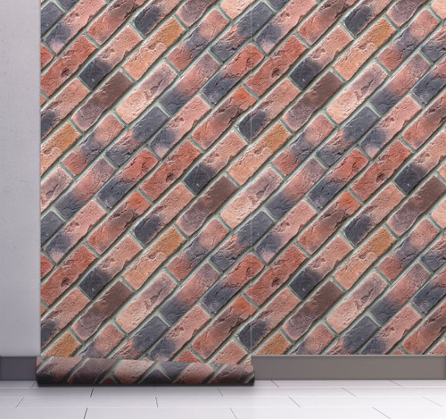 GW7031 Grace & Gardenia Diagonal Red Brick Peel and Stick Wallpaper Roll 20.5 inch Wide x 18 ft. Long, Red Orange