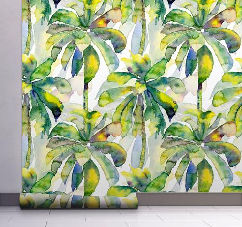 GW2201 Grace & Gardenia Watercolor Palms Peel and Stick Wallpaper Roll 20.5 inch Wide x 18 ft. Long, Green Yellow Blue