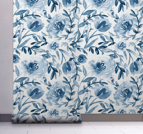 GW5131 Grace & Gardenia Watercolor Floral on Paper Peel and Stick Wallpaper Roll 20.5 inch Wide x 18 ft. Long, Blue
