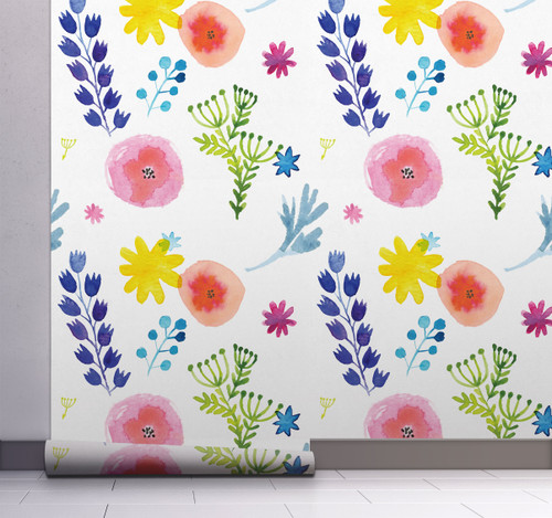 GW5121 Grace & Gardenia Hand Painted Floral Peel and Stick Wallpaper Roll 20.5 inch Wide x 18 ft. Long, Blue Green Yellow White