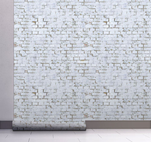 GW7041 Grace & Gardenia White Painted Brick Peel and Stick Wallpaper Roll 20.5 inch Wide x 18 ft. Long, White Gray