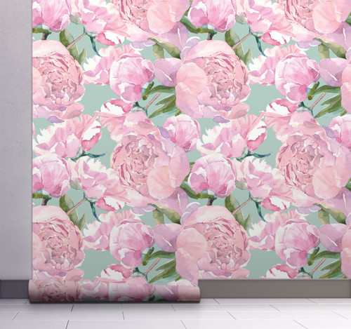 GW5141 Grace & Gardenia  Pink Watercolor Peonies  Peel and Stick Wallpaper Roll 20.5 inch Wide x 18 ft. Long, Pink Green
