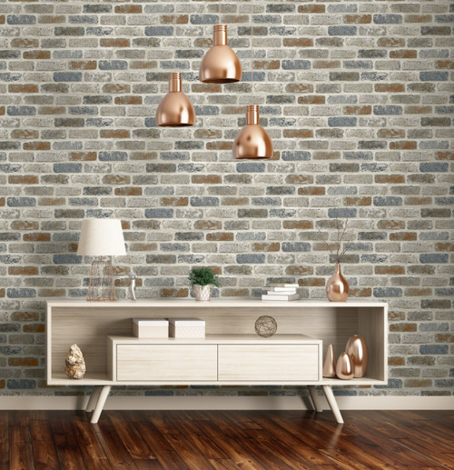 (FREE Wallpaper Smoother Bundle  + 2  Peel and Stick Wallpaper Rolls) Tan Gray and Light Brown Brick Wallpaper Peel & Stick Tan / Gray / Light Brown