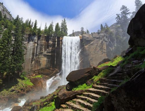 GM0060 Grace & Gardenia Yosemite Waterfall Premium Peel and Stick Mural 13ft. wide x 10ft. height, Green White Brown Blue