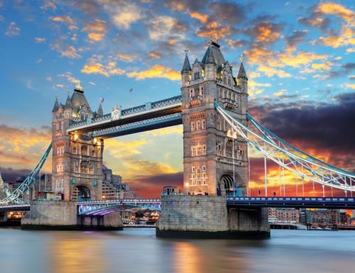 GM0080 Grace & Gardenia Tower Bridge London Premium Peel and Stick Mural 13ft. wide x 10ft. height, Blue Gray Yellow