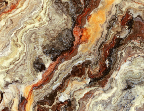 GM0090 Grace & Gardenia Onyx Marble Premium Peel and Stick Mural 13ft. wide x 10ft. height, Orange Gray Beige Brown
