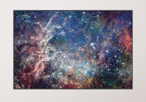 GM010F Grace & Gardenia Deep Space Stars Premium Peel and Stick Mural 69 inch wide x 46 inch height Blue White Yellow Orange