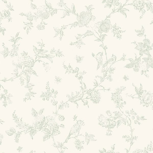 French Nightingale Sage Floral Scroll Wallpaper