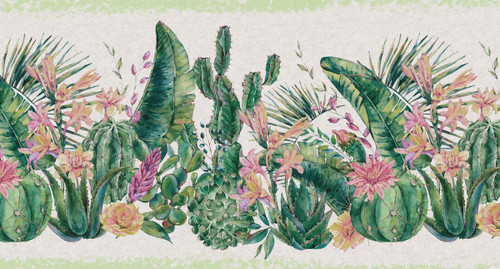 GB50131 Grace & Gardenia Cactus Flowers Peel and Stick Wallpaper Border 10in Height x 18ft Long, Green Beige Pink