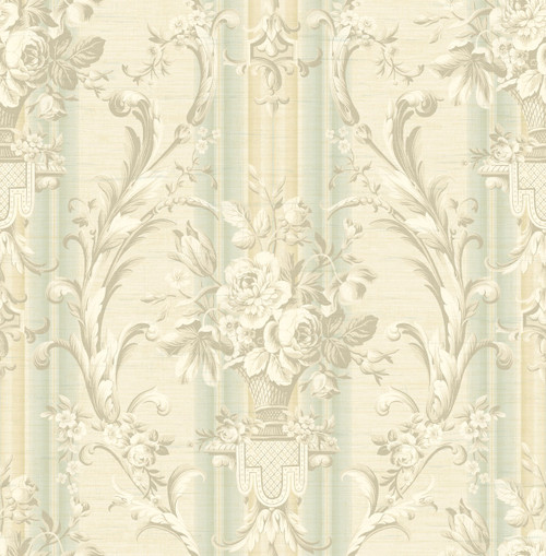 Antique Urn Wallpaper with Stripe in Light Blue TX41604 from Wallquest