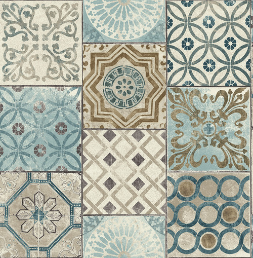 NextWall Moroccan Style Peel and Stick NW30002 Mosaic Tile Wallpaper,  Blue, Copper, Grey
