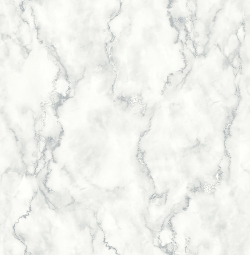 NextWall NW30400 Faux Marble Texture Peel and Stick Wallpaper White & Gray