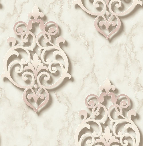3D Damask Wallpaper in Pink DS61101 by Wallquest