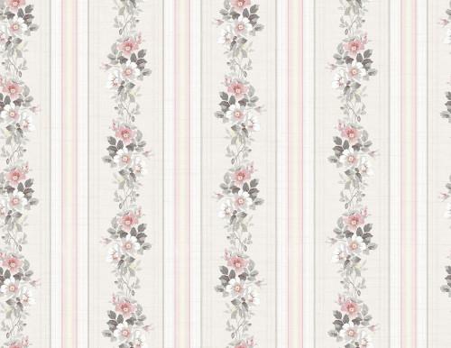 Floral Stripe Wallpaper in Blush MM51500 by Wallquest