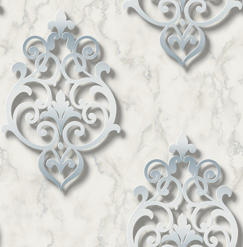 3D Damask Wallpaper in Soft Blue DS61102 by Wallquest