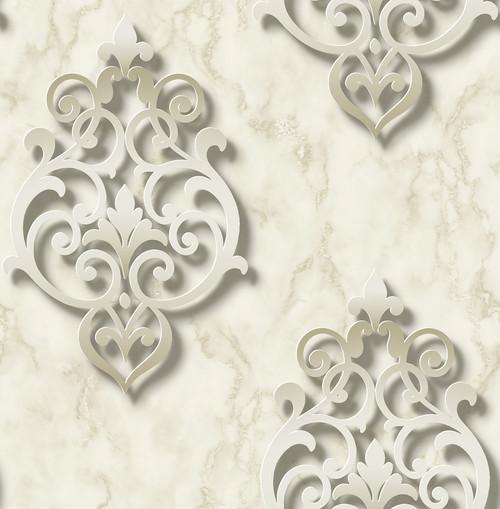 3D Damask Wallpaper in Golden DS61107 by Wallquest
