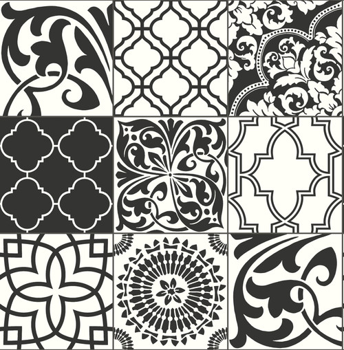 NextWall Graphic Tile Peel and Stick NW30300 Wallpaper Black & White