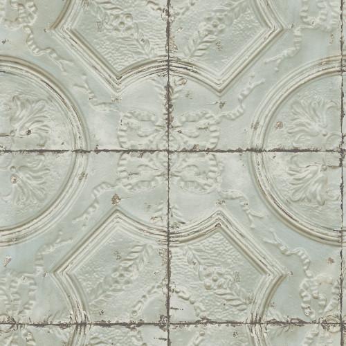 Chesapeake by Brewster 3115-12432 Deerfield Teal Vintage Tin Tile Wallpaper