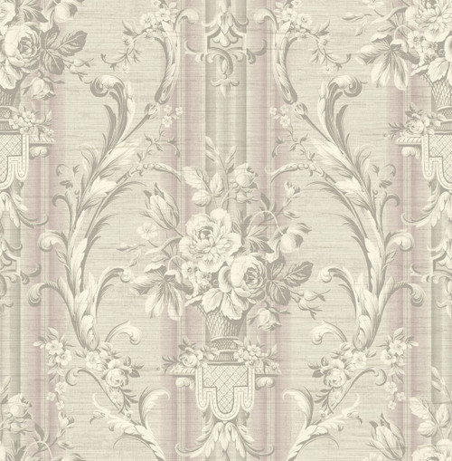 Antique Urn Wallpaper with Stripe in Purple TX41609 from Wallquest