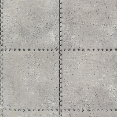 Beacon House by Brewster 2604-21252 Oxford Riveted Silver Industrial Tile Wallpaper