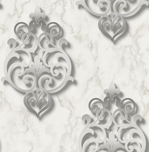 3D Damask Wallpaper in Silver  DS61100 by Wallquest