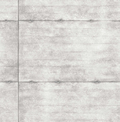 A-Street Prints by Brewster 2701-22314 Reclaimed Smooth Concrete Light Grey Geometric Wallpaper
