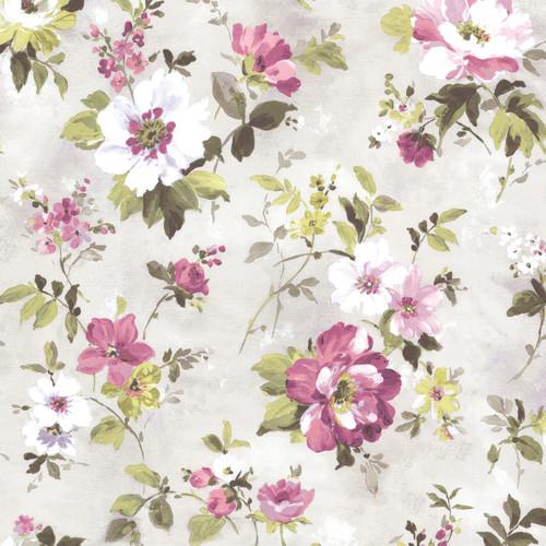 Beacon House by Brewster 2605-21635 Rosemore Amalia Purple Floral Garden Wallpaper