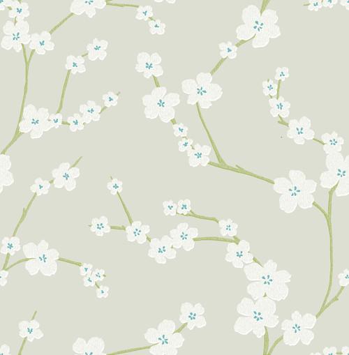 A-Street Prints by Brewster 2764-24322 Mistral Sakura Light Grey Floral Wallpaper