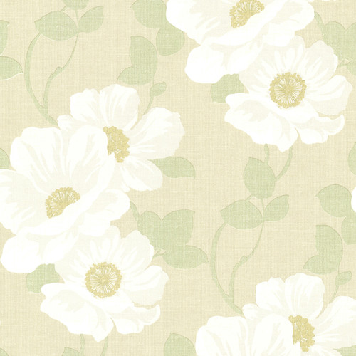 Beacon House by Brewster 2614-21054 Leala Golden Green Modern Floral Wallpaper