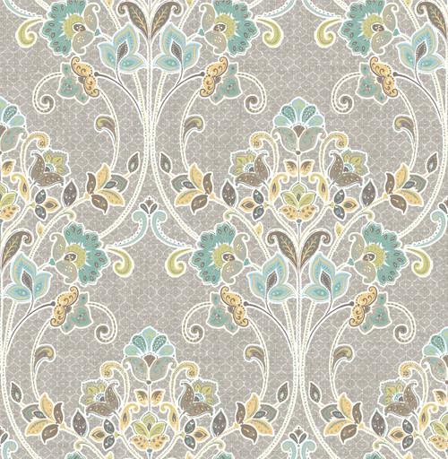 A-Street Prints by Brewster 1014-001810 Kismet Willow Grey Nouveau Floral Wallpaper