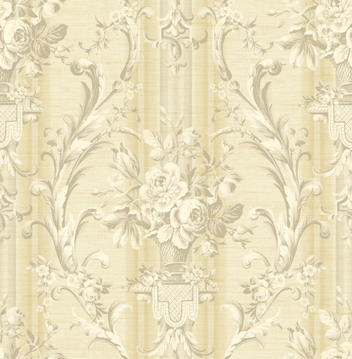 Antique Urn Wallpaper with Stripe in Gold TX41605 from Wallquest