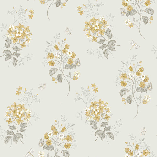 Chesapeake by Brewster 3112-002703 Sage Hill Beverly Yellow Floral Wallpaper