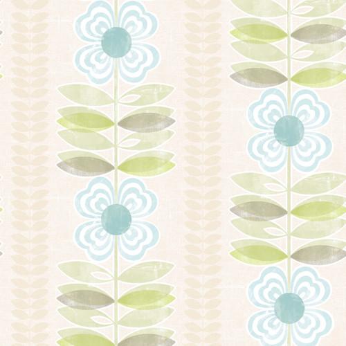 Brewster 2532-20673 Bath Bath Bath IV Avril Blue Modern Floral Stripe Wallpaper