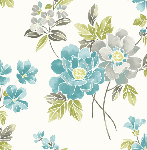 A-Street Prints by Brewster 2656-004023 Claressa Teal Floral Wallpaper