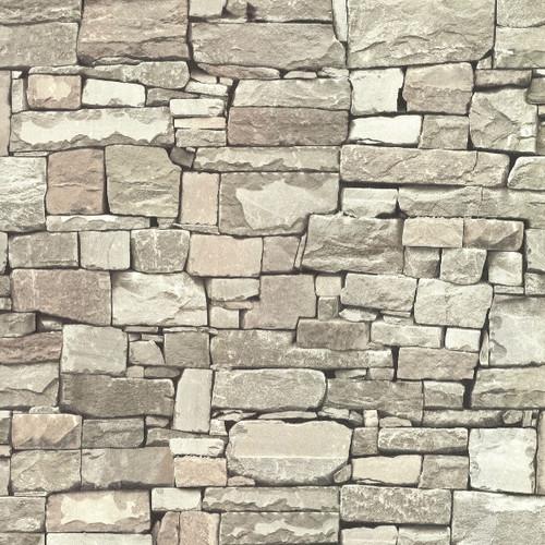 Brewster Advantage Neutral / Black / White 2773-859119 Tallulah Taupe Stone Wallpaper