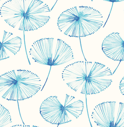A-Street Prints by Brewster 2656-004005 Paradise Blue Fronds Wallpaper