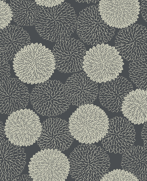 A-Street Prints by Brewster 2764-24327 Mistral Blithe Charcoal Floral Wallpaper