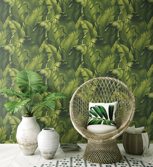 NextWall NW31000 Tropical Banana Leaves Peel & Stick Wallpaper, Green