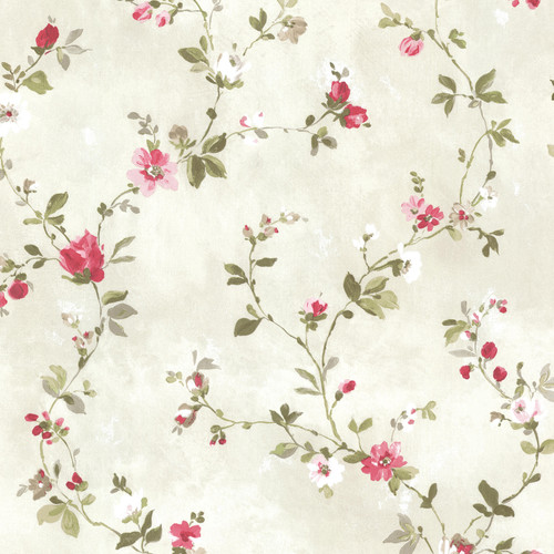 Beacon House by Brewster 2605-21640 Rosemore Isabella Magenta Floral Trail Wallpaper
