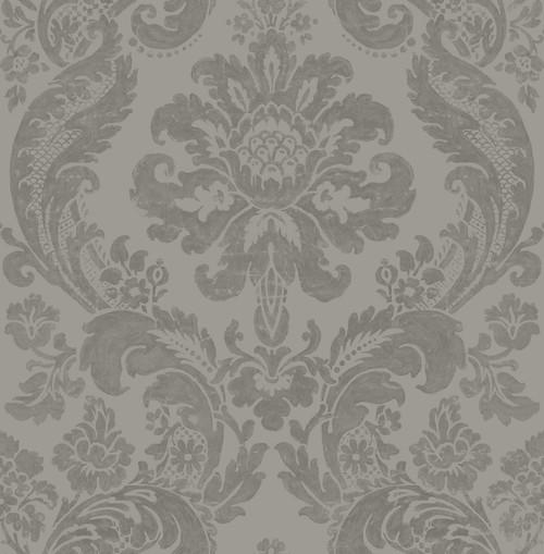 A−Street Prints by Brewster 2763-87313 Moonlight Shadow Grey Damask Wallpaper