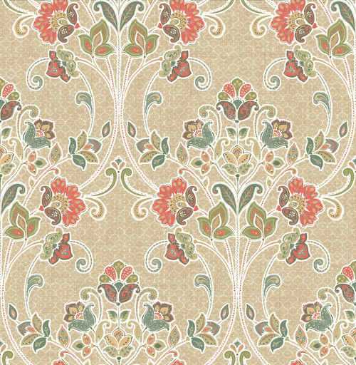 A-Street Prints by Brewster 1014-001808 Kismet Willow Coral Nouveau Floral Wallpaper