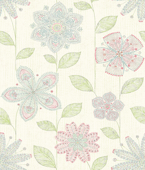 A-Street Prints by Brewster 1014-001811 Kismet Maisie Green Batik Flower Wallpaper