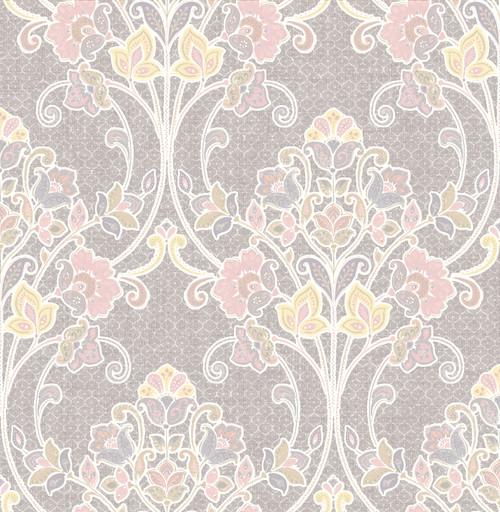 A-Street Prints by Brewster 1014-001809 Kismet Willow Pink Nouveau Floral Wallpaper