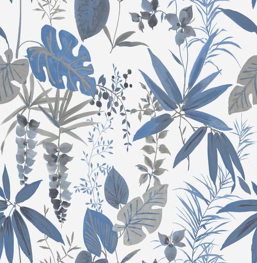 A-Street Prints by Brewster 2656-004016 Descano Flower Blue Botanical Wallpaper