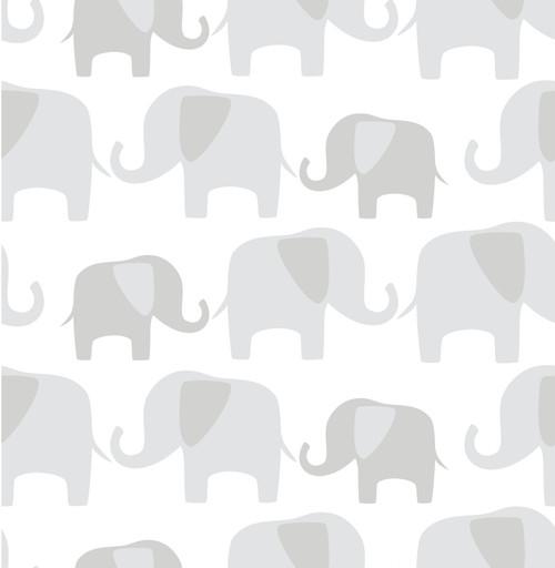 NuWallpaper by Brewster NU1405 Grey Elephant Parade Peel & Stick Wallpaper