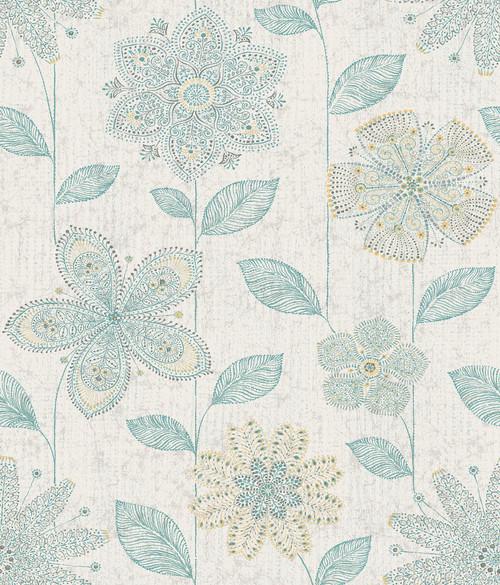 A-Street Prints by Brewster 1014-001814 Kismet Maisie Teal Batik Flower Wallpaper
