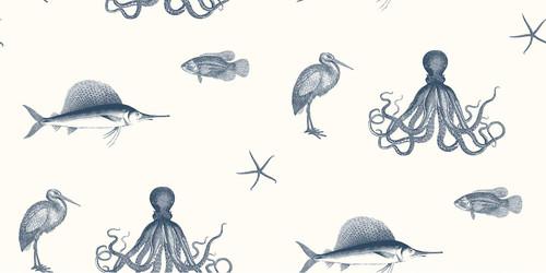 Chesapeake by Brewster 3113-12011 Seaside Living Oceania Navy Sea Creature Wallpaper